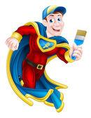 Cartoon decorator or painter superhero