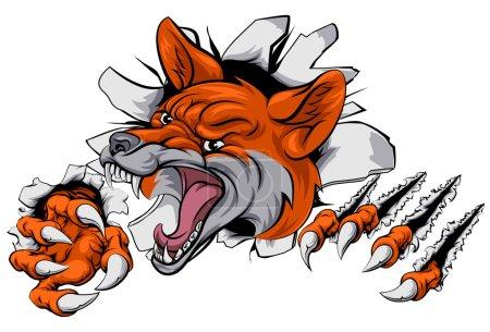 Fox mascot tearing through