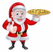Santa with Pizza