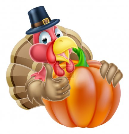 Pilgrim Hat Thanksgiving Turkey and Pumpkin