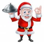 Santa Chef Holding Christmas Dinner