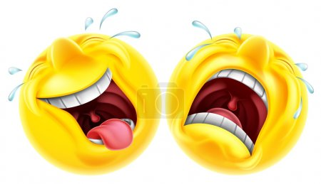 Illustration for Theatre comedy tragedy mask style emoji faces one laughing and one crying - Royalty Free Image
