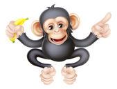 Cartoon Chimp with Banana Pointing