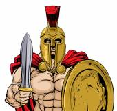 A gladiator ancient Greek Trojan or Roman warrior or gladiator wearing a helmet and holding a sword and shield