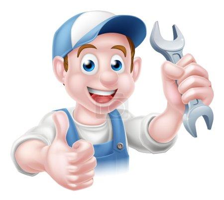 Mechanic Plumber Cartoon Man