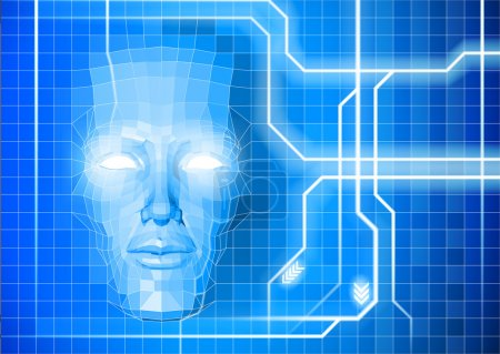 A face technology background abstract concept of a...