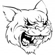 A black and white illustration of a fierce wildcat...
