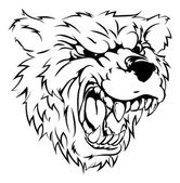 A black and white illustration of a fierce bear animal character or sports mascot