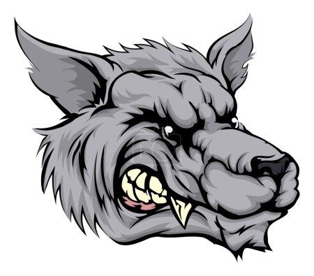 Illustration pour Illustration d'un caractère animal féroce ou d'une mascotte sportive de loup - image libre de droit