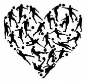Soccer heart concept of lots of football or soccer players in the shape of a heart