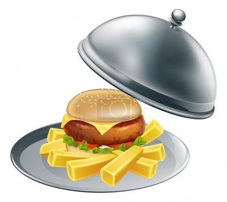 Illustration pour Une illustration de burger et chips sur un plateau de service en argent - image libre de droit