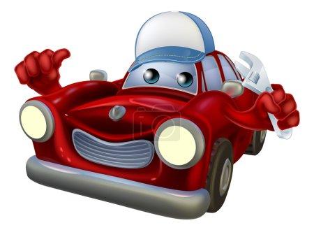 Illustration pour Illustration d'un personnage de dessin animé rouge portant une casquette et tenant une clé tout en donnant un pouce vers le haut . - image libre de droit