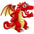 Cartoon illustration of a friendly Red Dragon smil...