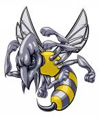 A mean looking hornet wasp or bee mascot character cartoon illustration