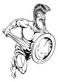 An illustration of a gladiator warrior character or sports mascot  in a trojan or Spartan style helmet holding a sword and shiel