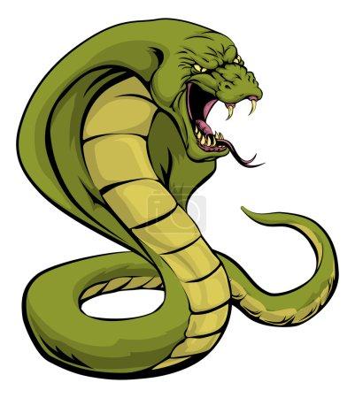 Illustration pour Illustration d'une mascotte sportive de serpent cobra sur le point de frapper - image libre de droit