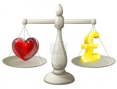 Illustration for Love or money work life balance scales, scales with a pound sign on one side and a heart on the other - Royalty Free Image