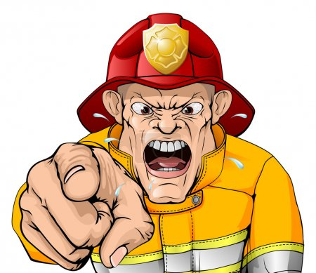 An illustration of an angry shouting fire man poin...