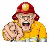 Angry fireman cartoon
