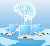 Cloud brain computer concept