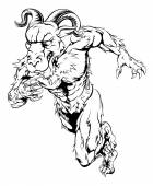 Black and white illustration of a sprinting running ram character great as a sports or athletics mascot