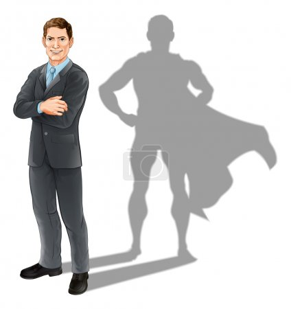 Illustration for Hero businessman concept, illustration of a confident handsome business man standing with his arms folded with superhero shadow - Royalty Free Image