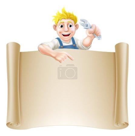 Cartoon plumber and scroll