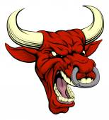 An aggressive tough mean red bull sports mascot character