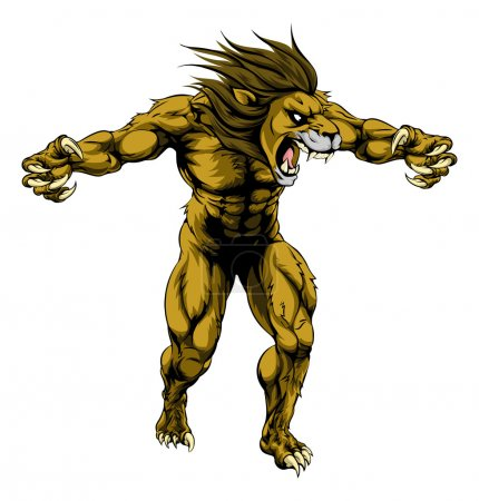 An illustration of a Lion scary sports mascot with...