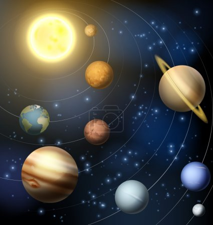 Illustration for An illustration of the planets orbiting the sun in the solar system including the dwarf planet Pluto - Royalty Free Image
