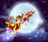 Christmas cartoon illustration of Santa clause in his sleigh or sled flying in front of a big full moon