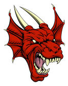 A tough looking red dragon mascot character could be a Welsh dragon or sports mascot