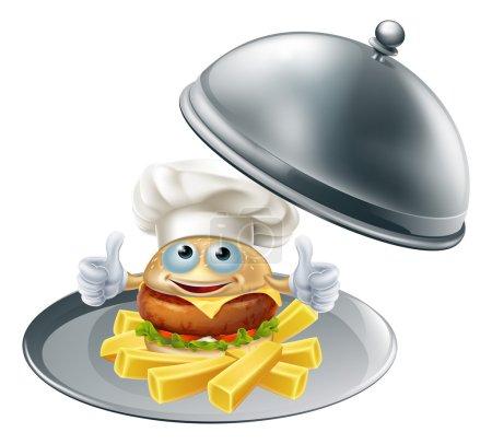 Illustration pour Une illustration du caractère mascotte du chef burger et des chips sur un plateau de service en argent - image libre de droit