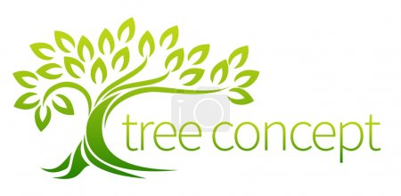 Illustration for Tree icon concept of a stylised tree with leaves, lends itself to being used with text - Royalty Free Image