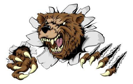 Illustration pour Un ours effrayant déchirant à travers l'arrière-plan avec des griffes acérées - image libre de droit