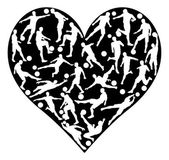 Love soccer concept of lots of football or soccer players in a heart shape