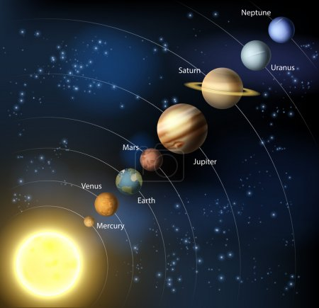 Illustration for Solar system illustration of the planets in orbit around the sun with labels - Royalty Free Image