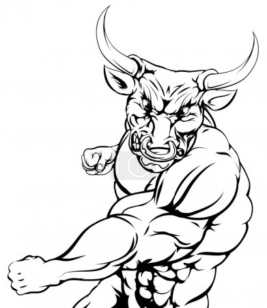 Fighting bull character sports mascot