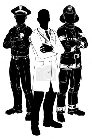 Illustration for Emergency rescue services team silhouettes of a policeman or police officer, a fireman or fire-fighter and a doctor - Royalty Free Image