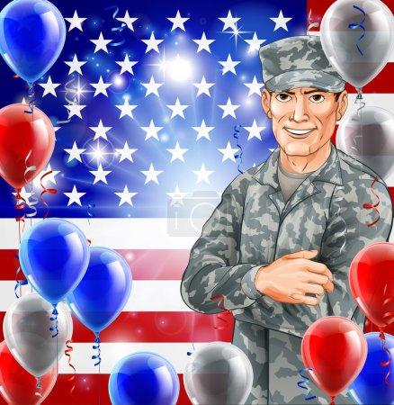Illustration pour USA Soldat Illustration d'un beau soldat américain heureux devant un drapeau américain avec des ballons de fête. Idéal pour le 4 juillet, la fête des anciens combattants, la fête de l'indépendance ou similaire . - image libre de droit