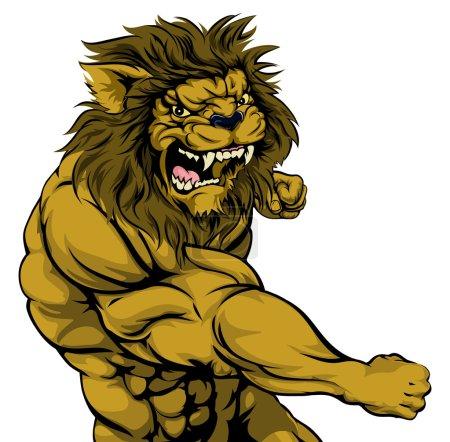 A tough muscular lion character sports mascot atta...