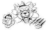 Wolf mascot smashing out