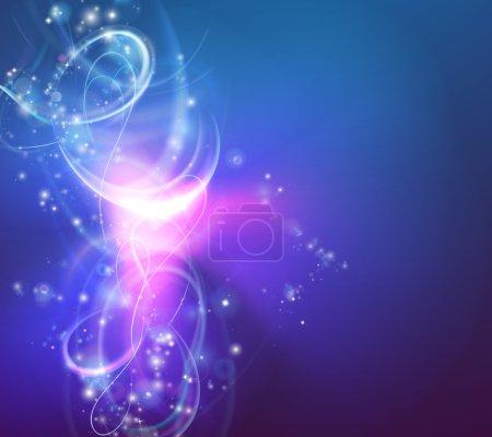 Illustration pour Un fond abstrait moderne tourbillonnant de lumière avec des formes de vortex électrique - image libre de droit