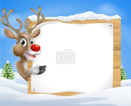 Cartoon reindeer Christmas Sign