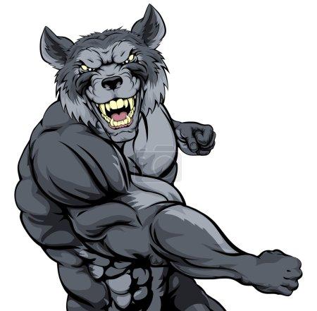 Punching wolf mascot