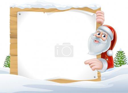 Santa Cartoon Christmas Sign