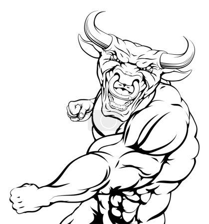 Punching bull mascot