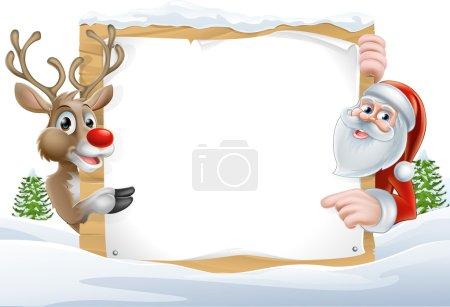 Christmas Santa and Reindeer Sign