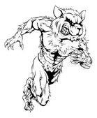 A raccoon man character or sports mascot charging sprinting or running