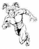 An illustration of a scary ram sports mascot running